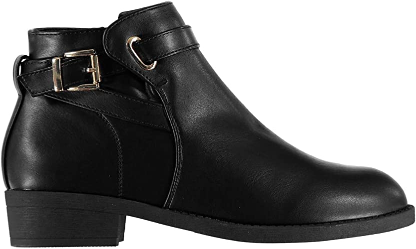 Miso Womens Buckle Boots Flat Ankle Zip