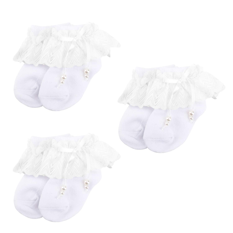 OOSAKU Calcetines de bautizo de bautismo de bautismo de algodón blanco niña bebé 0-24 meses paquete de 3 (Blanco A 0-24 meses) OO7717wa13