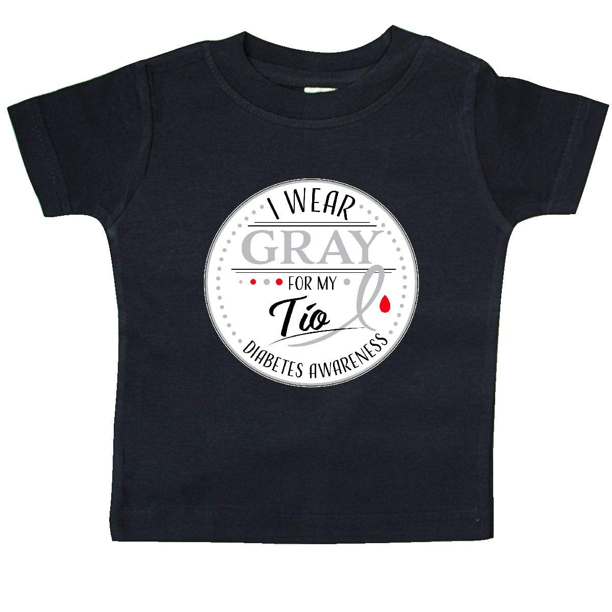 inktastic I Wear Gray for My T/ío Diabetes Awareness Baby T-Shirt