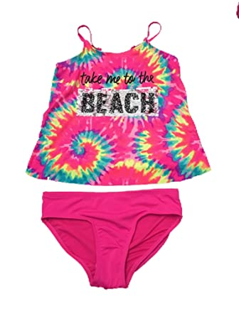 153462176013c Justice Girls Swimwear Take me to The Beach Tie Dye Flip Sequin Tankini Set  Multi Pink