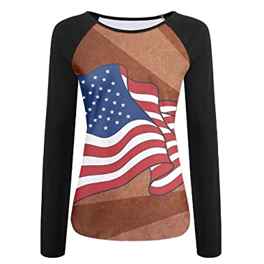 12addfb4 Image Unavailable. Image not available for. Color: WANING MOON Women's Long  Sleeves American Flag Baseball Tshirts ...