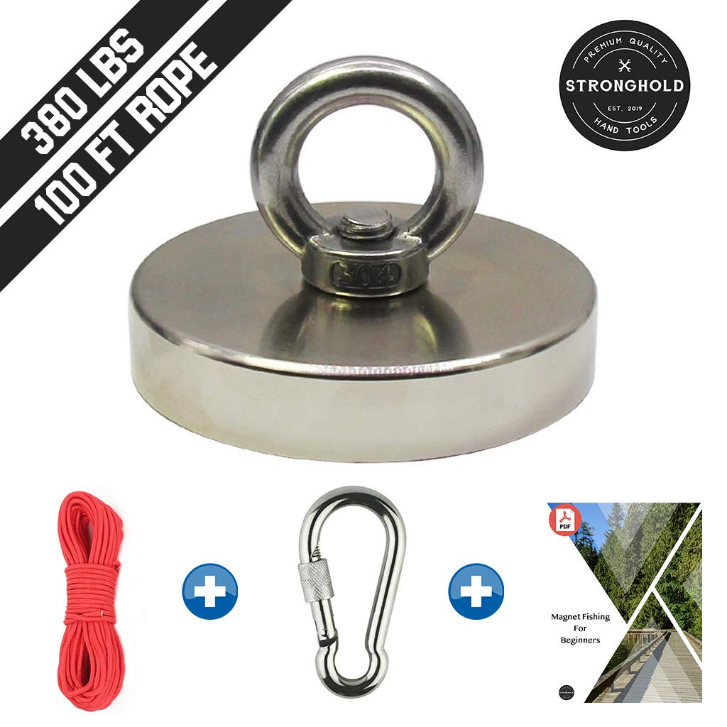 Mutuactor Fishing Magnets 350lbs Pull Force,Strong Retrieval Magnet N52 Neodymium Magnets with 20m Durable Rope,Powerful Magnets for Fishing and Magnetic Recovery Salvage 64 Foot