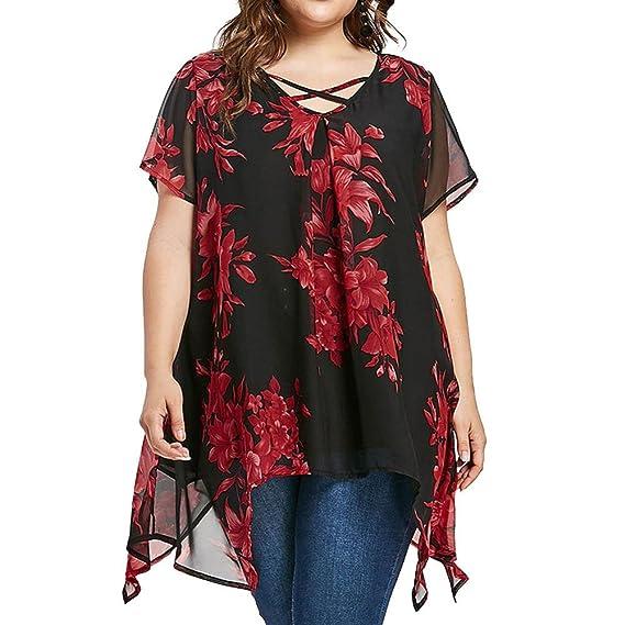 K-Youth Camisetas Mujer Tallas Grandes Suelta Dobladillo Irregular Camisas de Gasa Moda Blusa Mujer