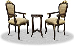 Casa Padrino Baroque Dining Room Chair Set with Side Table Dark Brown/Gold/Bronze - Antique Style Furniture