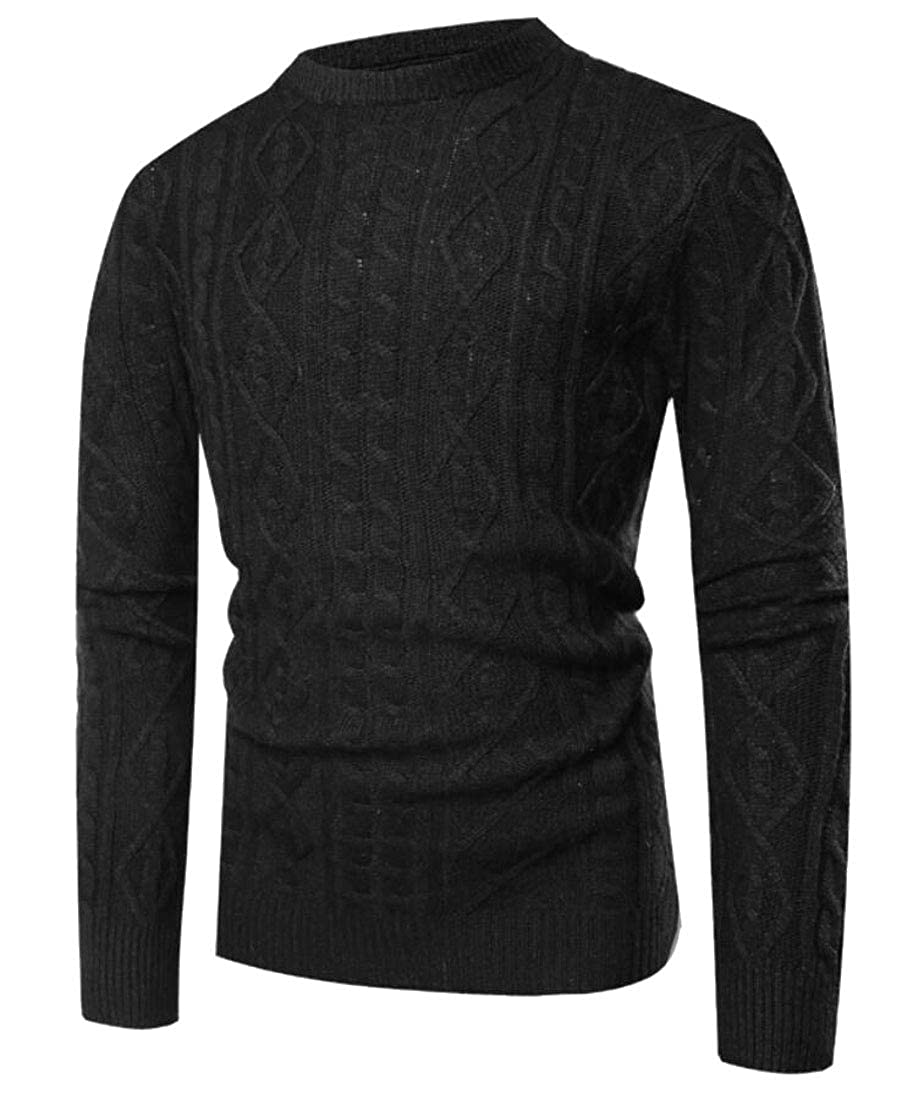 Alion Men Cable Knit Long Sleeves Crewneck Sweater Blouse