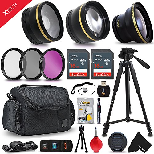 """(Deluxe 28 Piece Accessory Kit for Canon EOS Rebel T6i T6S T5i T5 T4i T3i T3 T2i 750D 70D 60D 60Da 700D 650D 600D 550D 1200D 1100D 100D SL1 EOS M3 M2 7D Mark II 5D Mark II EOS 5D Mark III XS XSi XT XTi Kiss X50 kiss X70 Kiss X7i Kiss X6i Kiss X5 kiss X4 DSLR Cameras Includes: 58mm Super High Definition FishEye Lens + 58mm High Definition 2X Telephoto Lens + 58mm High Definition Wide Angle Lens + 16GB High Speed Memory Card + 8GB High Speed Memory Card + Professional Full Size 72"""" Inch Tripod + Large Well Padded Case + Universal Camera Remote Control + 58mm 3 Piece Glass Filter Set (UV Filter + CPL Filter + ND Filter) + Universal Card Reader + Flexible Mini Table Tripod + Memory Card Case Holder + Screen Protectors + Mini Blower + Cleaning Pen + 58mm Lens Cap + Lens Cap Holder + Deluxe Cleaning Kit + Ultra Fine HeroFiber Cleaning Cloth)"""