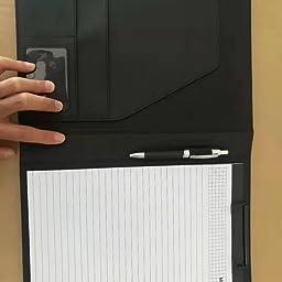 Amazon L Hydrone バインダーケース クリップボード 収納ポケット搭載 ビジネスファイル 多機能 フォルダー メモ用 紙とペンホルダー付き 高級puレザー 実用性が高いフォリオケース 会議パッド A5 ブラック クリップファイル ボード 文房具 オフィス用品