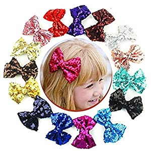 Boutique Bling Sparkly Sequins Hair Bows Nylon Mesh Ribbon Headbands for Party Baby Girls Girls Kids Children