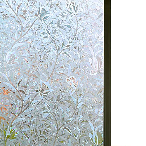 Bloss Excellent Quality 3D Static Cling Window Film Self adhesive Window Covering Decorative Flower Privacy film for window 17.7 x 78.7, 1 Roll