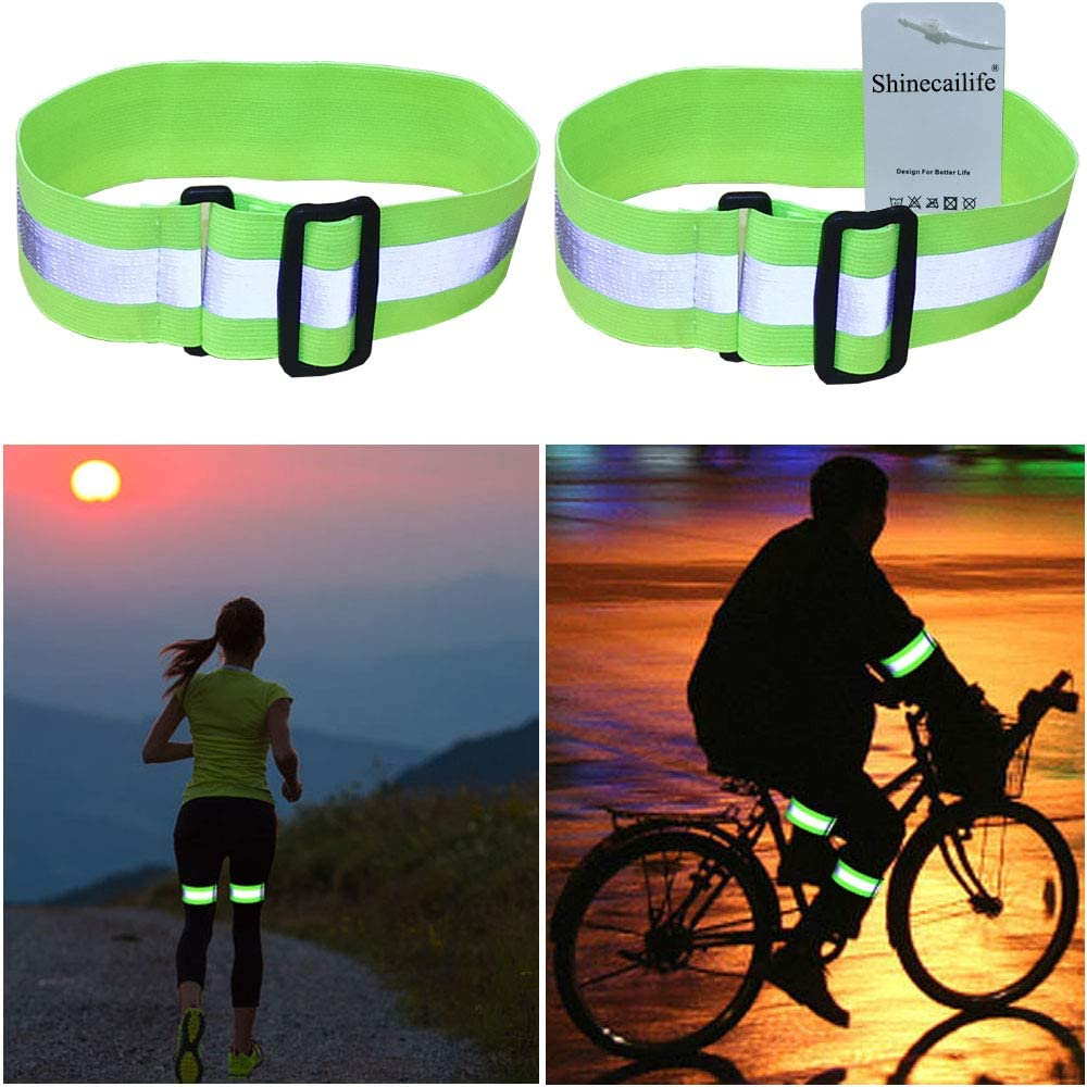 Shinecailife Adjustable Reflective Running Gear,Ankle Bands,Armband,Leg,Wristband for Running,Walking,Cycling,Bike Etc,High Visibility Safety