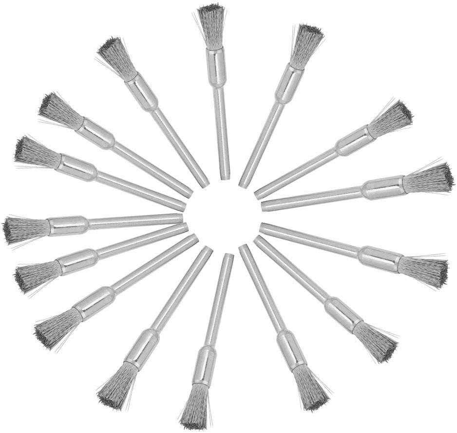 15pcs Acero 3mm Di/ámetro del v/ástago Cepillo de alambre Herramienta de pulido para metal madera limpieza de superficies de piedra 3 * 5mm