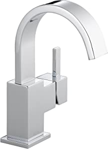 Delta Faucet Vero Single Hole Bathroom Faucet, Single Handle Bathroom Faucet Chrome, Bathroom Sink Faucet, Metal Drain Assembly, Chrome 553LF