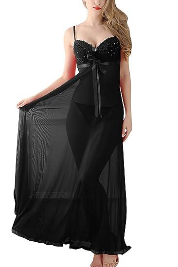 Nouveaux produits 99a34 399f8 YAOMEI Femmes Sexy Erotique Nuisette Babydoll Lingerie Robe Ouvert  sous-vêtement, Transparent Robe Longue Chemises de Nuit Femmes avec G-String