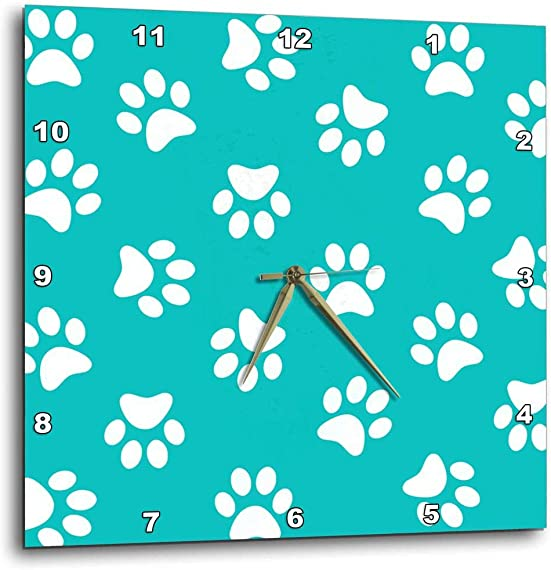 3dRose DPP_161531_1 Teal Blue and White Paw Print Pattern Turquoise Pawprints Cute Animal Eg Dog Or Cat Footprints Wall Clock, 10 by 10-Inch