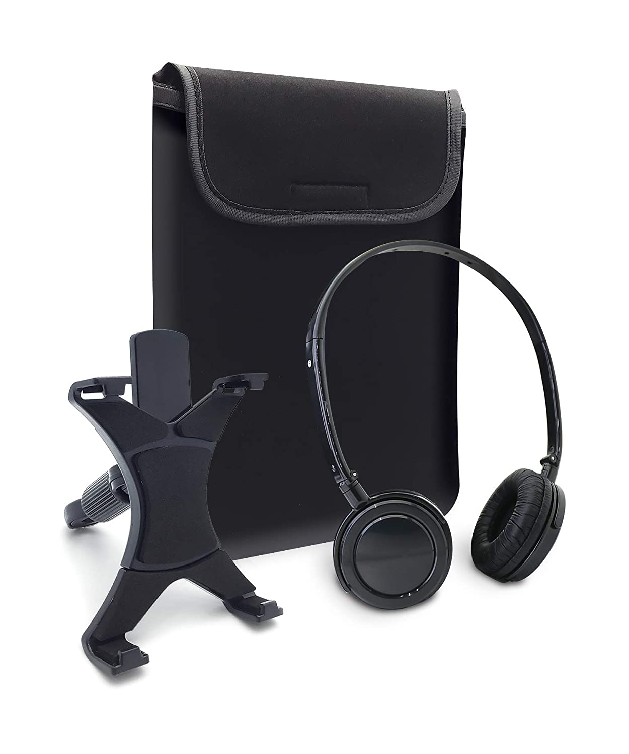 Headphones, Sleeve, and Car Headrest Mount ACC1801 Tablet Accessory Travel Kit - Caseworks