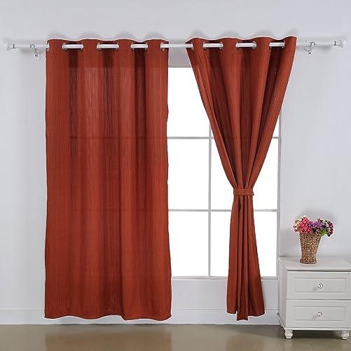Deconovo Grommet Top Jacquard Stripe Window Curtain for Bedroom, 52×84, Orange