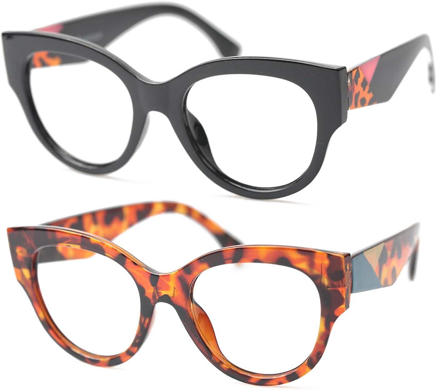 SOOLALA Ladies Modern Fashion Eyeglass Frame Cat Eye Reading Glass