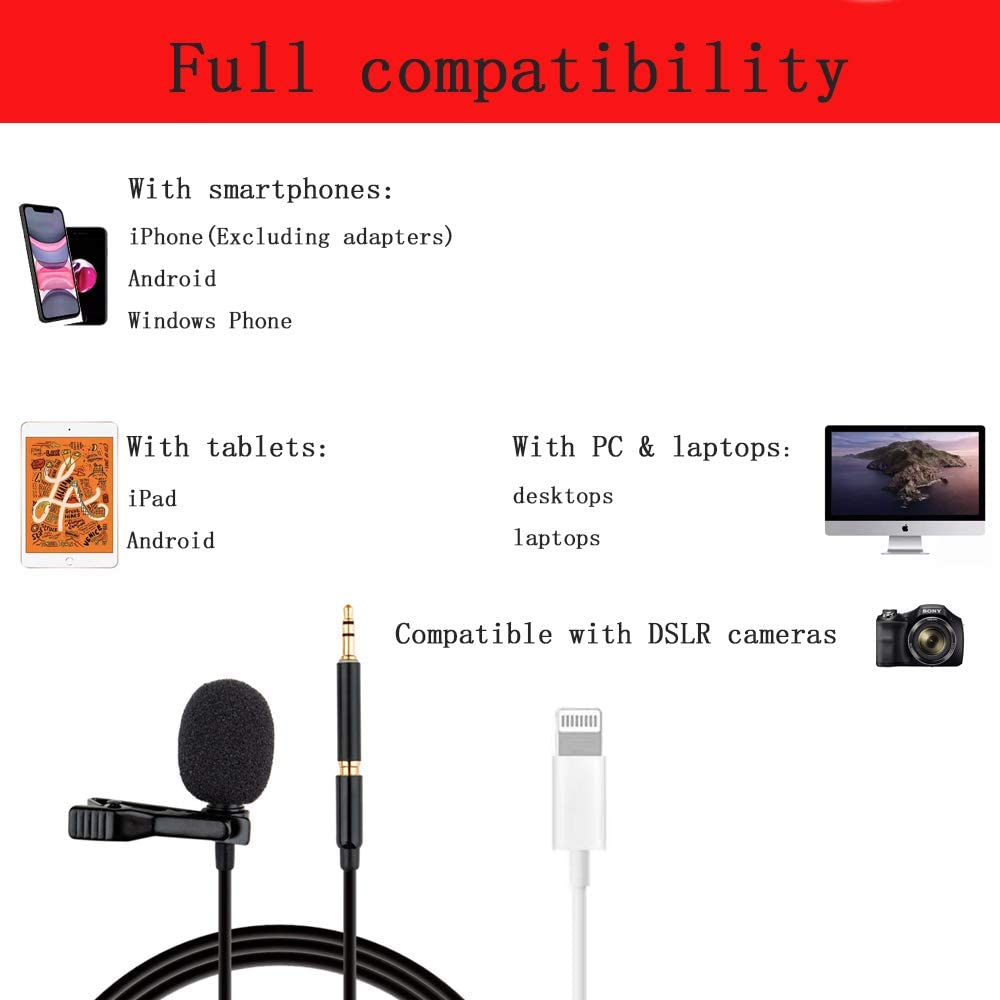Professional Grade Lavalier Lapel Microphone Omnidirectional Mic with Easy Clip On System Perfect for Recording Youtube//Interview//Video Conference//Podcast//Voice Dictation//iPhone//ASMR