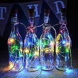 kingleder Wine Bottle USB Rechargeable LED Cork Light String, USB Powered LED Accent light for Bedroom Living Room Wedding Party Decoration(4 Pack, Multi-color)