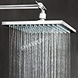 8 square shower head with arm - ShowerMaxx |Premium 8 inch Square High Pressure Luxury Spa Rainfall Shower Head- Removable Restrictor for Waterfall Rainshower- Self Cleaning High Flow Nozzles - Polished Chrome Finish Rain Showerhead