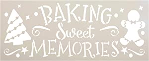 Baking Sweet Memories Stencil by StudioR12 | DIY Christmas Tree Home Decor | Craft & Paint Wood Sign Reusable Mylar Template | Holiday Gingerbread Cookie Gift Select Size (13.5 inches x 5.5 inches)