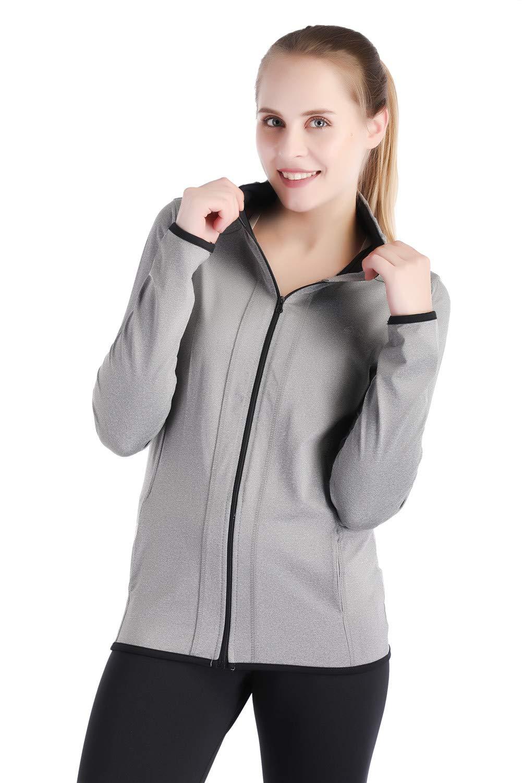 Dolcevida Women's Full Zip Long Sleeves Running Activewear Yoga Track Jackets (Grey, M) by Dolcevida (Image #4)