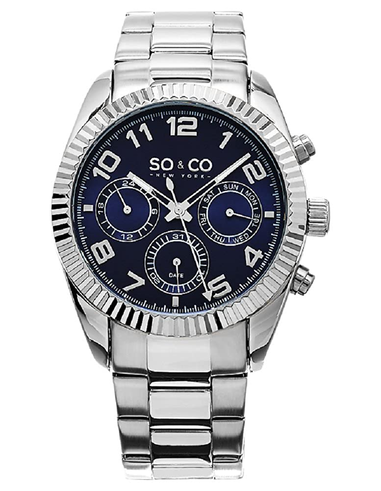 Amazon.com: SO&CO New York Mens Madison Quartz Metal and Stainless Steel Dress Watch, Color:Silver-Toned (Model: 5009.2): SO & CO New York: Watches