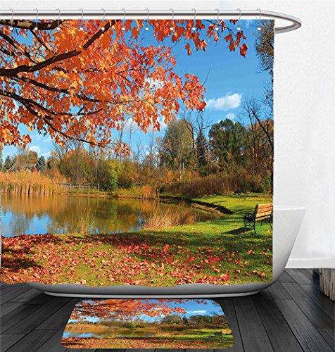 Nalahome Bath Suit: Showercurtain Bathrug Bathtowel Handtowel Landscape Autumn Scenery in Michigan USA Scenic View with Trees Pond and Clear Sky Orange Blue - In Macys Michigan