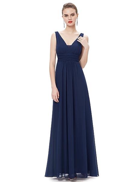 Ever-Pretty Escote en V Vestido de Noche Largo para Mujer Corte Imperio Azul Marino