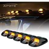 Xprite 5 Pcs 12 LEDs Amber Yellow LED Cab Roof Top Marker Running Clearance Light Assembly for Ford Dodge Ram Trucks SUV…