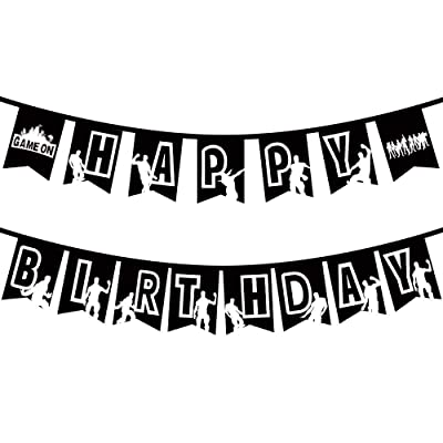 Gaming Party Happy Birthday Banner Pop Game Supplies Decorations Floss Dance Like A Boss For Kids Adults Black Personalized