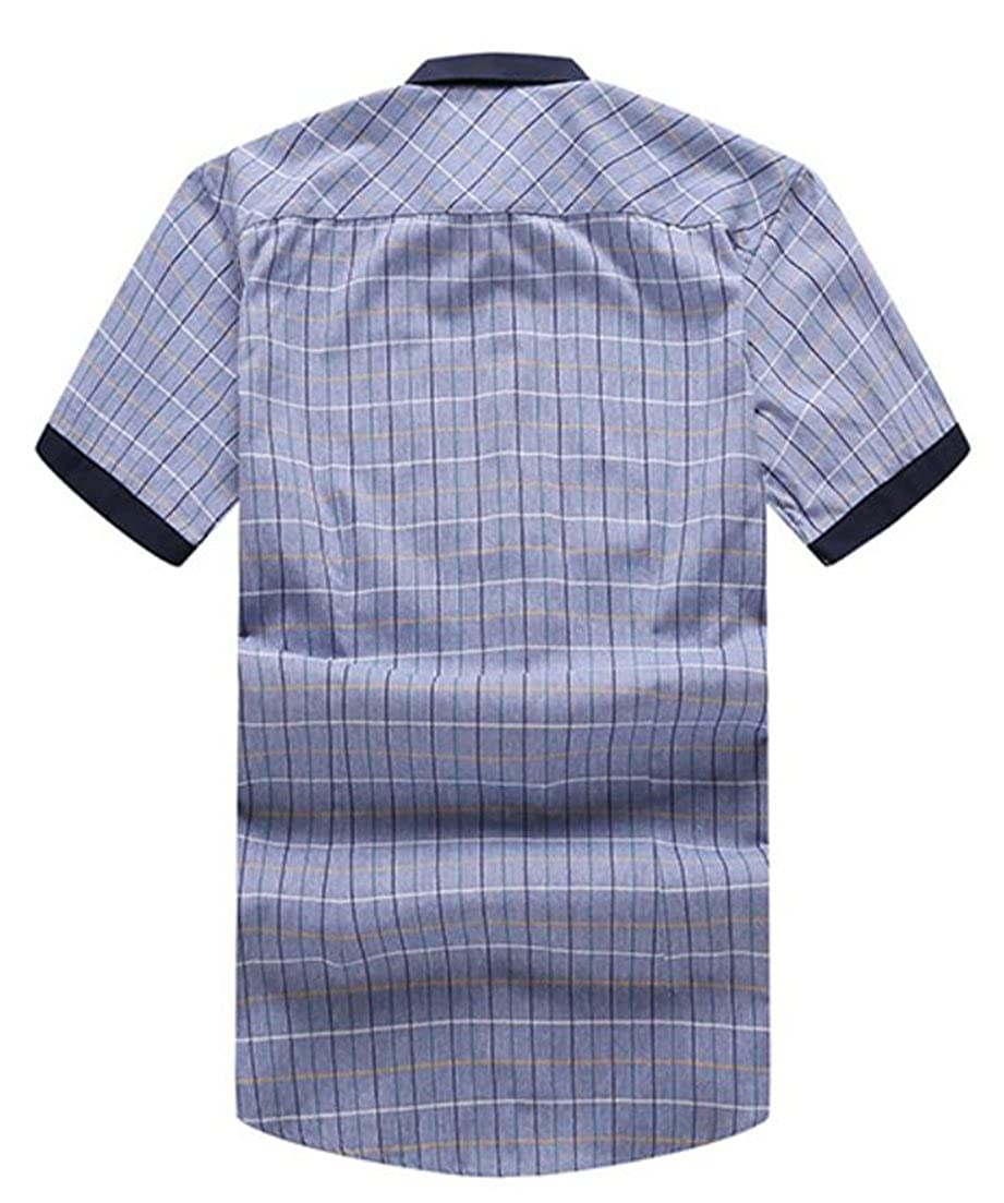 goldenharvest GH Mens Checkered Tops Short Sleeve Summer Printing Plus Size Button Down Shirts