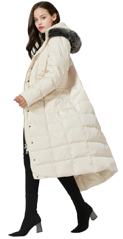 Molodo Mens Long Down Coat with Fur Hood Maxi Down Parka Puffer Jacket