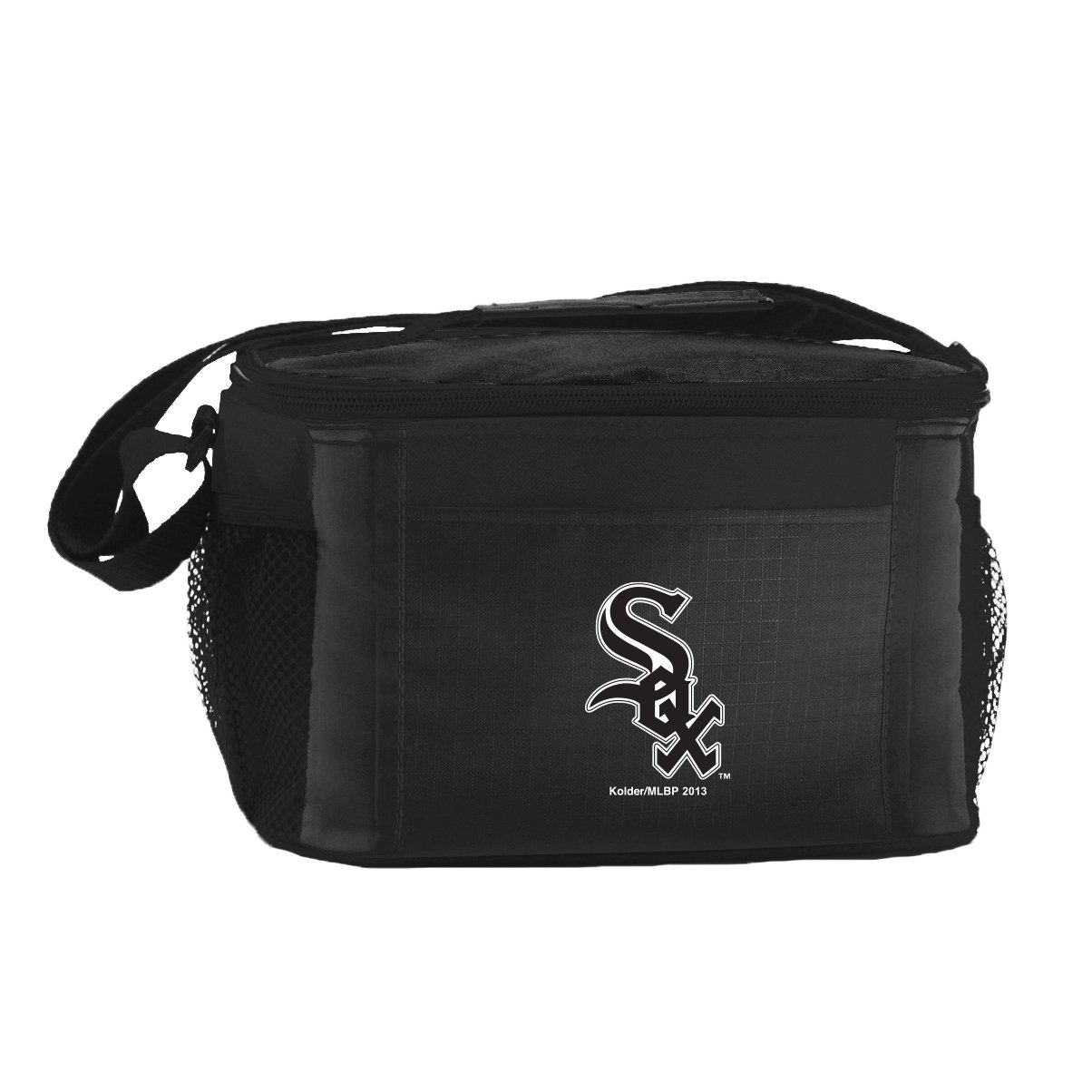MLB Chicago White Sox Insulated Lunch Cooler Bag with Zipper Closure, Black