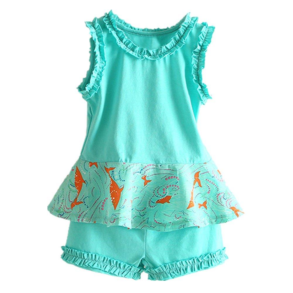 LittleSpring Little Girls' Short Set Sleeveless Summer Size 3T Green
