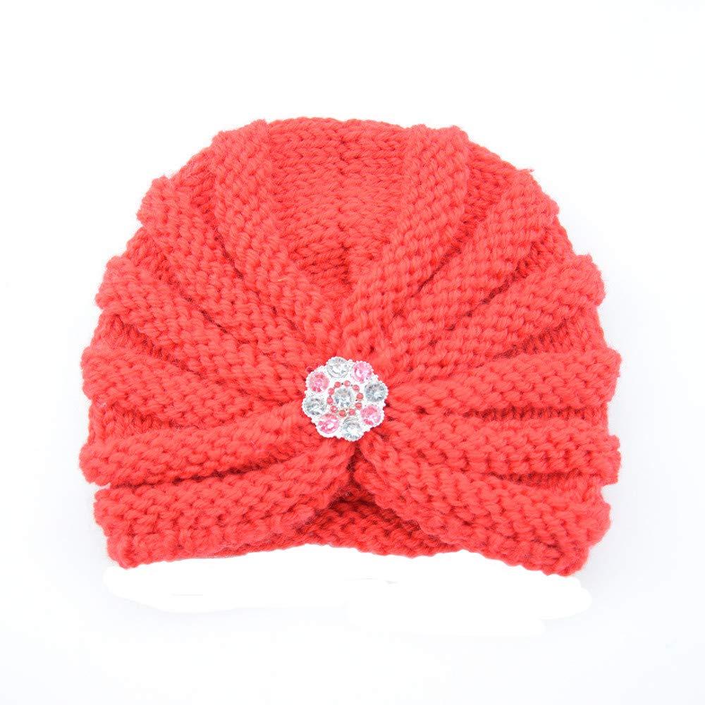 Mamum Enfants b/éb/é filles tricot chapeau bonnet turban t/ête Wrap Cap bouchon de pile Bonnet B/éb/é Rose