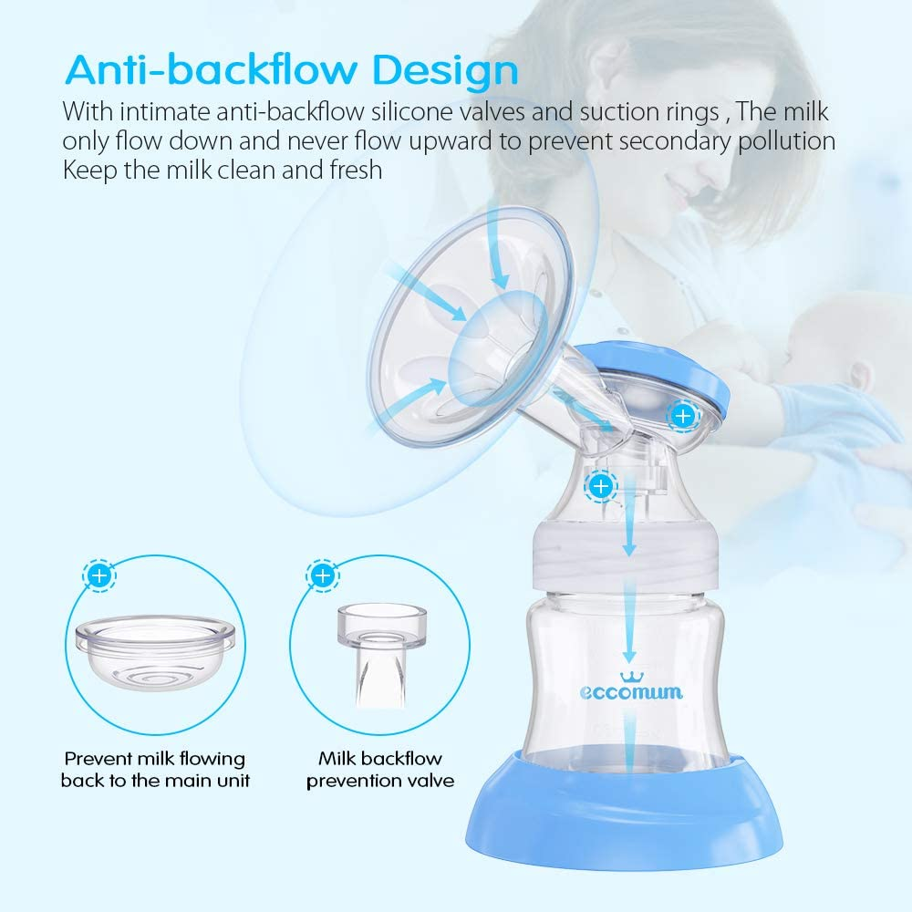 Memory Function BPA Free Rechargeable Electric Double Breast Pump Eccomum Breastfeeding Pump with 4 Modes /& 9 Levels Strong Suction Power Ultra-Quiet Full Touchscreen LED Display Pain Free
