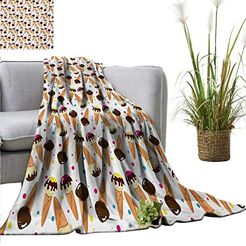 AndyTours Cool Blanket,Ice Cream,Chocolate Covered Ice Cream with Colorful Little Dots Frozen Desert Waffle Cones,Multicolor,for Bed & Couch Sofa Easy Care 60