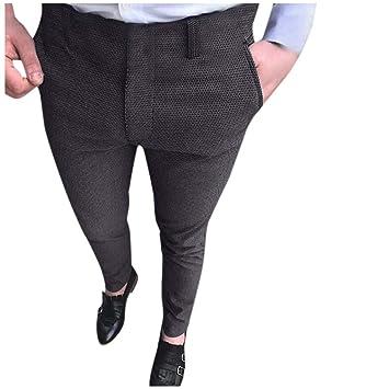 Pantalones de Traje de Negocios LMMVP Pants de Color Sólido ...