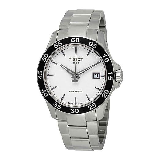 Reloj Tissot V8 automático para hombre, plateado y bisel gris, ref. T1064071103100.: Amazon.es: Relojes