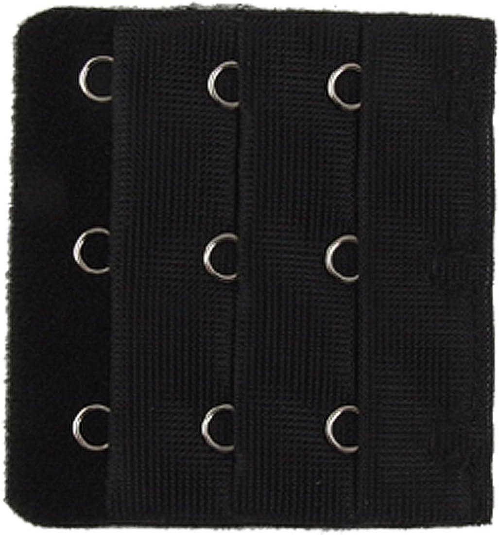 Allegra K Black 3 x 3 Positions Hooks Tape Underwear Bra Extender