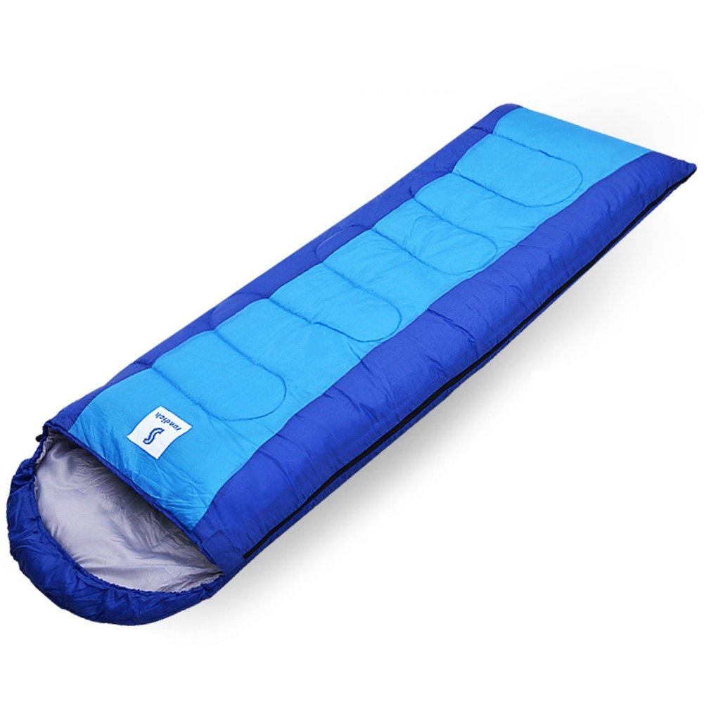 Bleu 1.95KG HM&DX Sac De Couchage Camping Adulte,Rectangulaire 4-Saisons Imperméable Coton Sac De Dormir Sac De Compression Trekking Tente Hiker Randonnée
