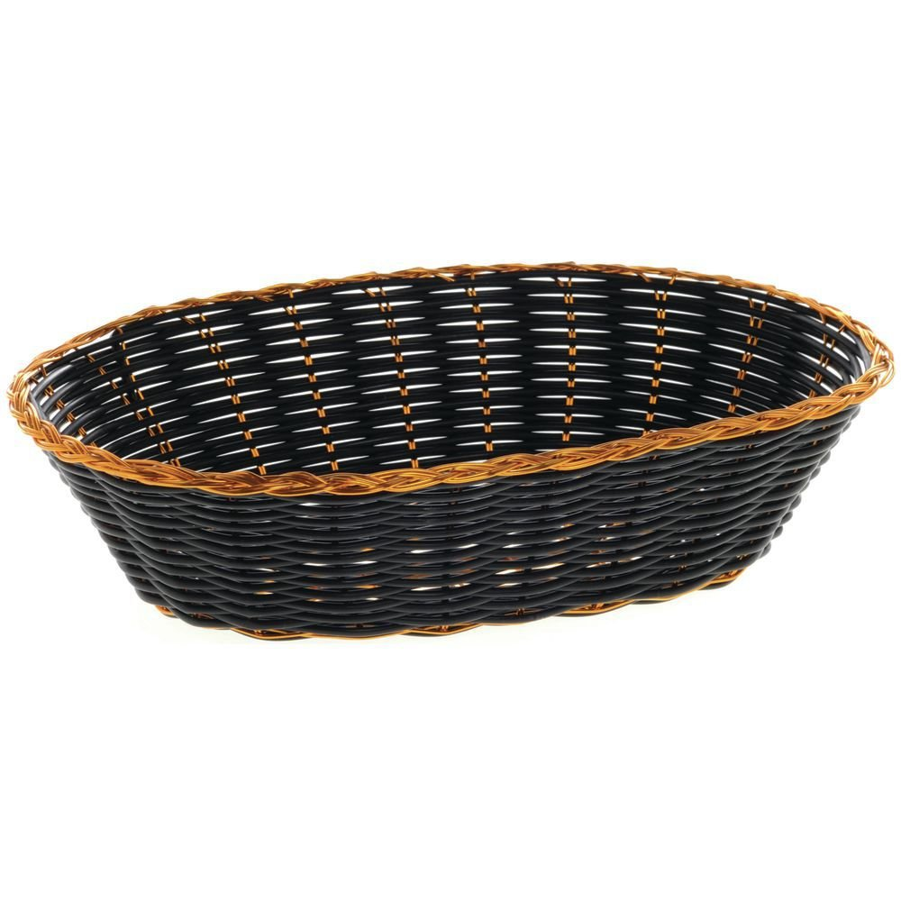 HUBERT Bread Basket Black And Gold Oval - 9 3/4 L x 6 3/4 W x 2 3/8 H