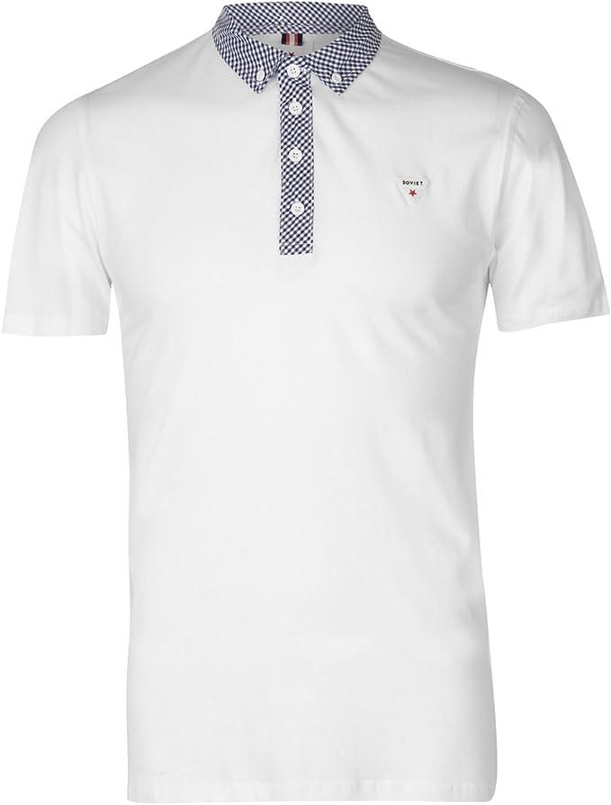 Soviet Hombre Camisa Polo Manga Corta Cuello de Cuadros Blanco L ...