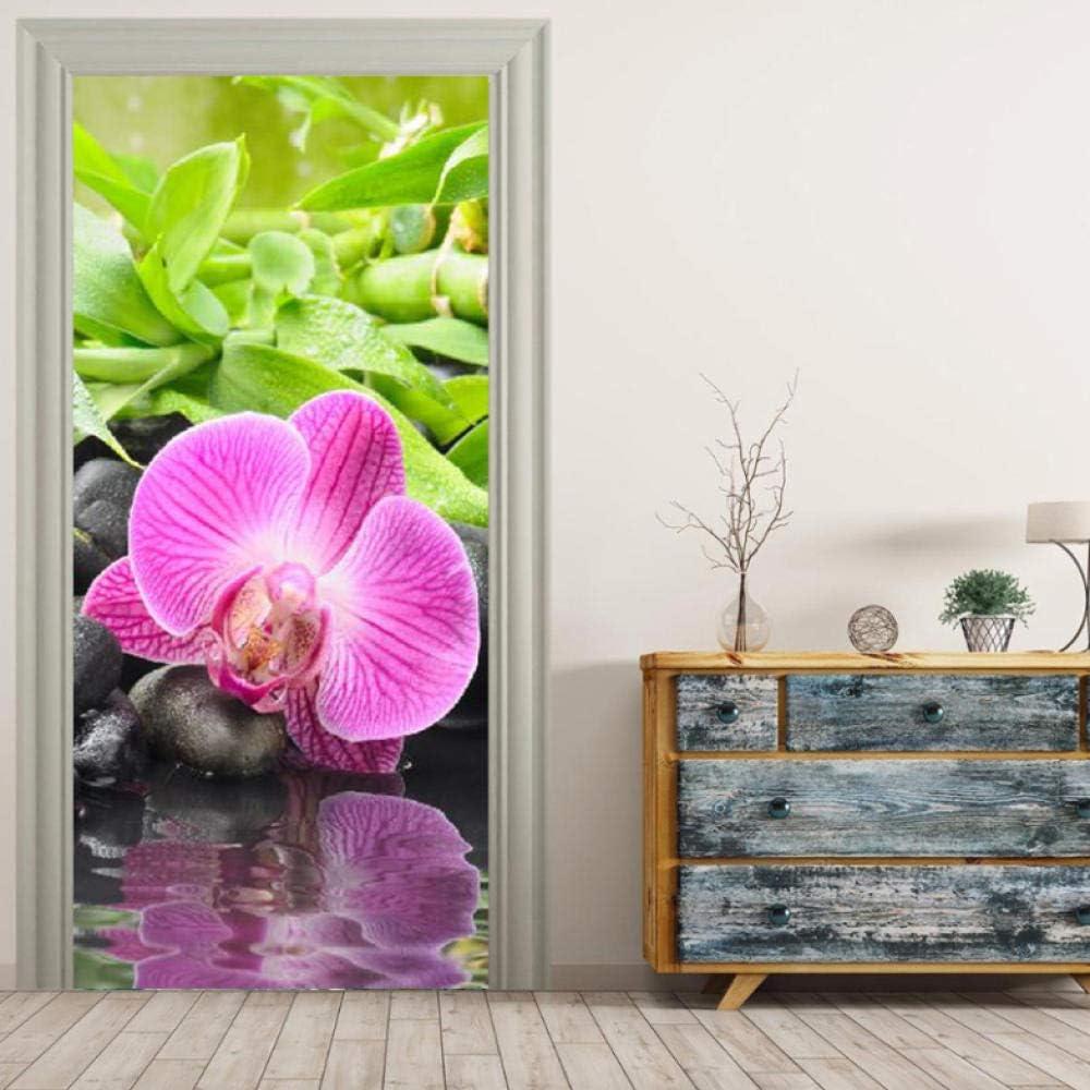 Kllomm Violet Papillon Orchid/ée Fleur Peintures Murales Stickers Muraux Porte Autocollant Papier///PeintStickers D/écoration de La Maison77x200 cm