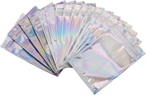 Resealable Foil Ziplock Bags 100 Pieces- Resealable Smell Proof Foil Ziplock Pouch - Party Favor Food Safe Storage - Reusable Lip Gloss Packaging - Jewelry Storage Pouches Small Gram Baggies