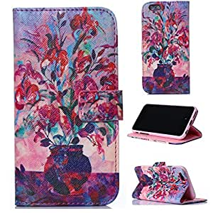 LliVEER Painting Leather Flip Wallet Stand with Credit Card Slots Protective Case for Apple iPhone 6 Plus 5.5inch Vase Flowers