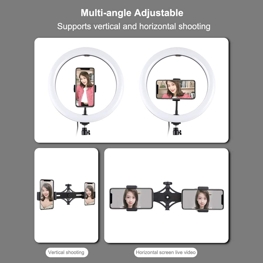 10.2 inch USB 3 Modes Dimmable Dual Phone Brackets LED Ring Vlogging Video Light Kits with 1.65m Adjustable Tripod Stand and Phone Clamp for Live Stream Makeup YouTube Video PULUZ Ring Light Kit