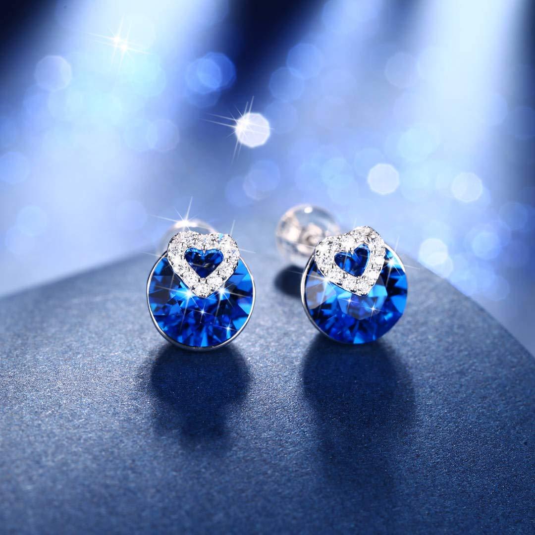 J.Ros/ée Collier Bleu et Boucles doreilles Bleu Femme//Fille Bijoux Argent 925 Zirconium Cubique Bleu Cadeau de Vacances Parfait