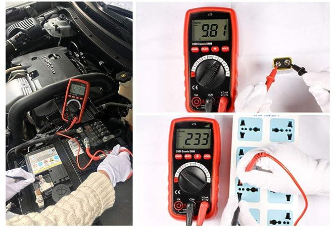 Herramientas de medición en el hogar del multímetro Digital de Rango automático con retroiluminación Pantalla LCD Probador de Voltaje CA/CC Medir: ...